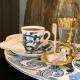 Kahve Fincan Takımı 'Bleu Blanc' Desen 2'li Mavi Beyaz