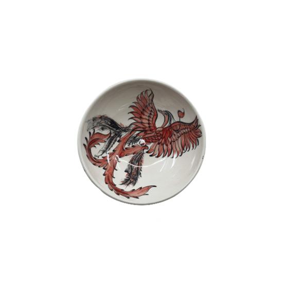 Tabak Anka Kuşu 16x16x6 Cm Siyah/Beyaz/Kırmızı Dekor