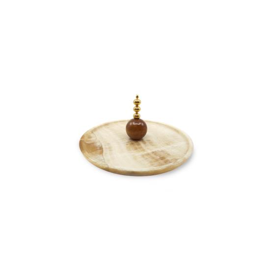 Peynir Tabağı Cevher Küçük Boy Altın Kaplama/Onix